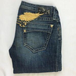 New Women's Jean sz 26 Straight Leg- Gold Wings